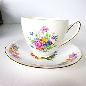VTG Gladstone Bone China Floral Tea Cup and Saucer